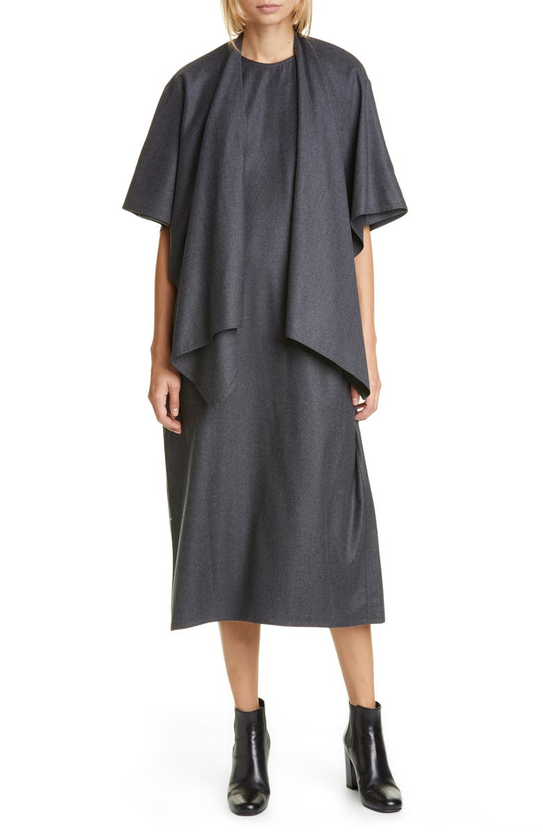 SOFIE D'HOORE Wool Flannel Midi Cape Dress, Main, color, GREY MELANGE