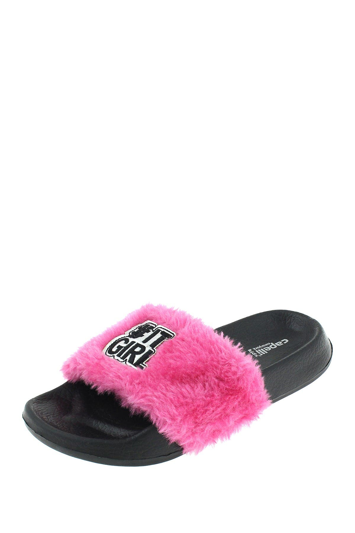 Image of CAPELLI OF NEW YORK It Girl Faux Fur Slide Sandal (Toddler & Little Kid)