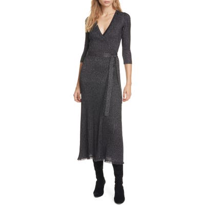Dvf Bobbi Metallic Detail Ribbed Wool Blend Wrap Dress, Black