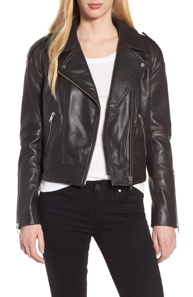 TROUVÉ Crop Leather Biker Jacket, Main, color, 001
