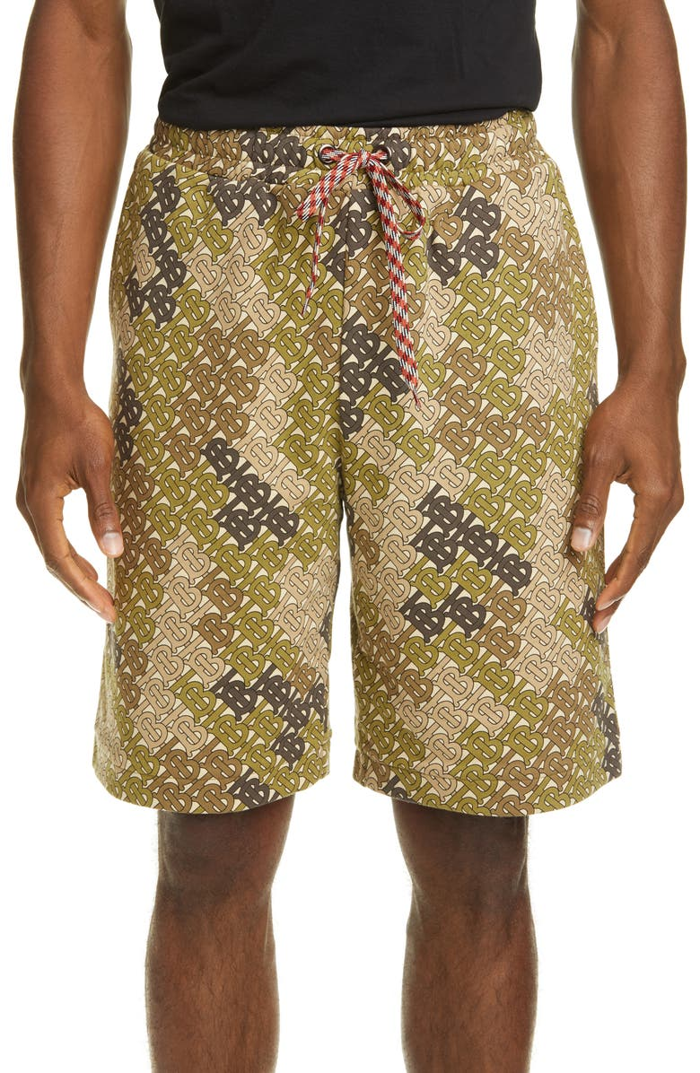 BURBERRY Monogram Print Drawstring Shorts, Main, color, KHAKI GREEN