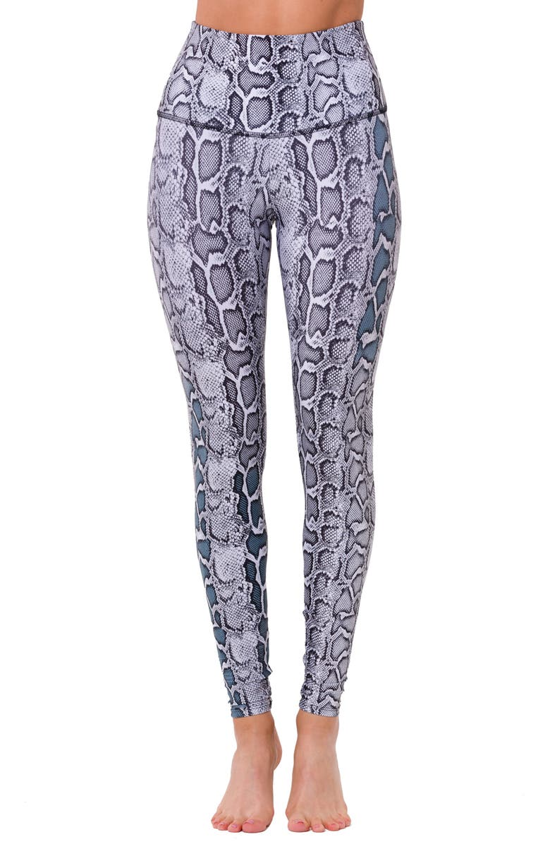 ONZIE Graphic High Rise Leggings, Main, color, BLACK / WHITE SNAKE