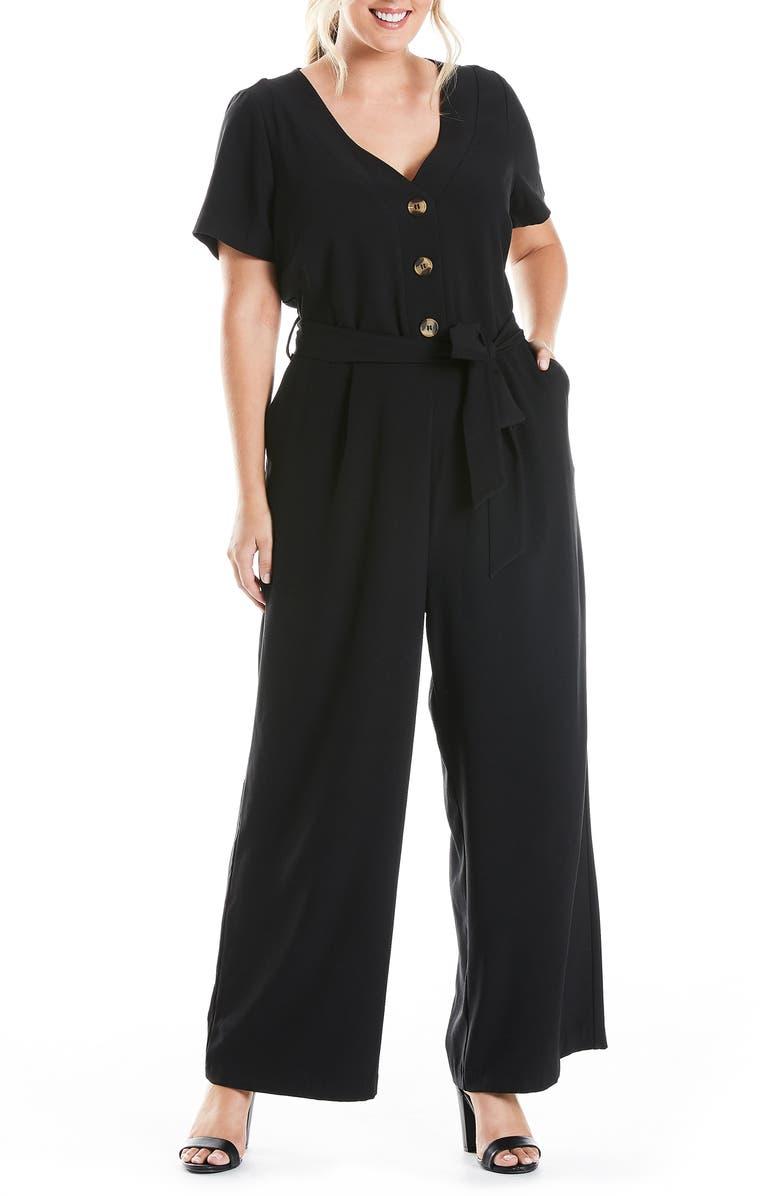 ESTELLE Tully Short Sleeve Wide Leg Jumpsuit, Main, color, BLACK