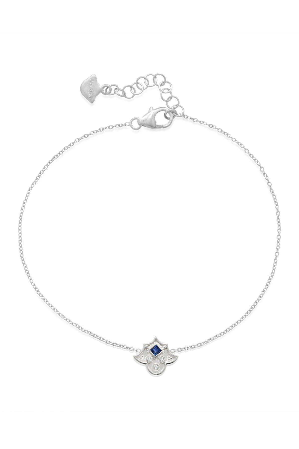 Image of LEGEND AMRAPALI SILVER Sterling Silver Heritage Amulet Blue Sapphire & Diamond Station Bracelet