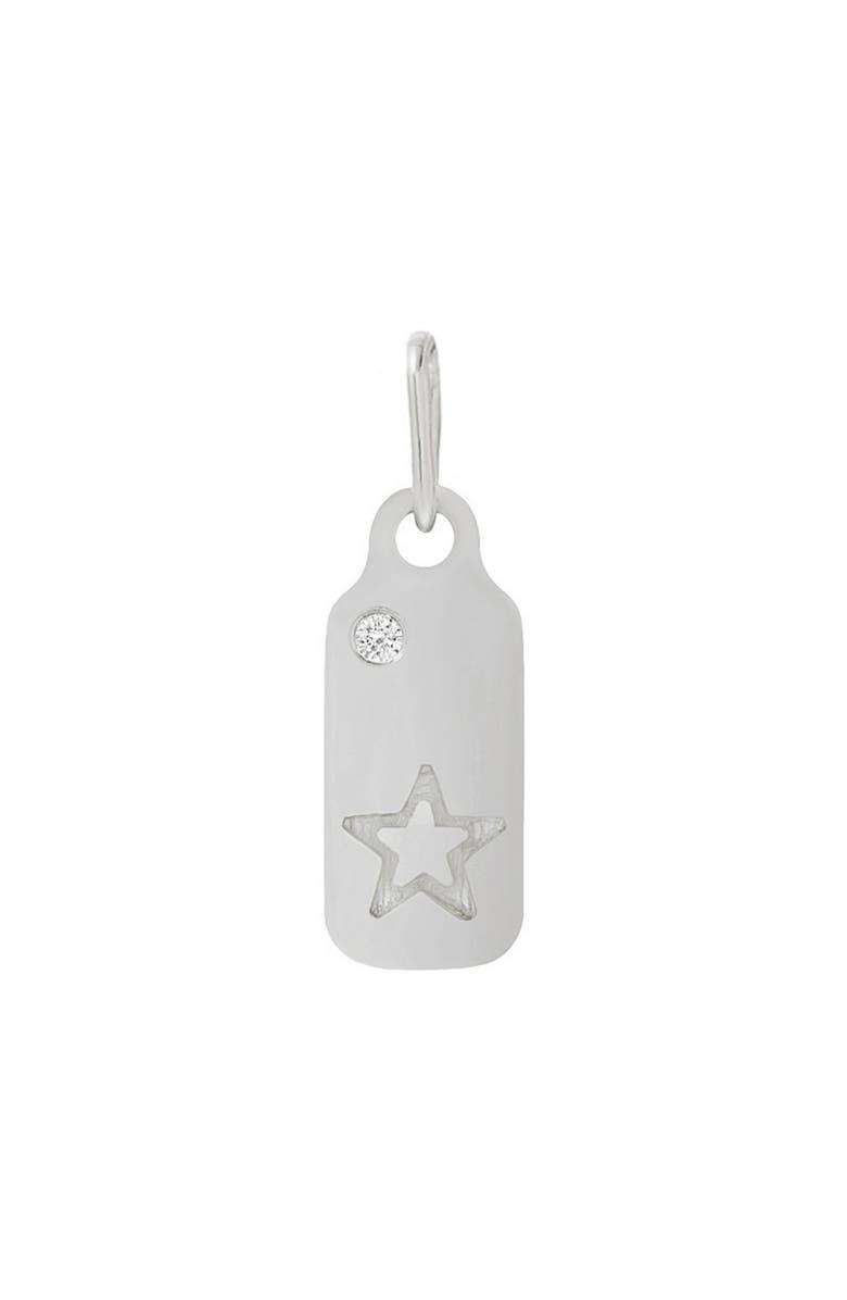 MINI MINI JEWELS Icons - Star Diamond Dog Tag Pendant, Main, color, WHITE GOLD