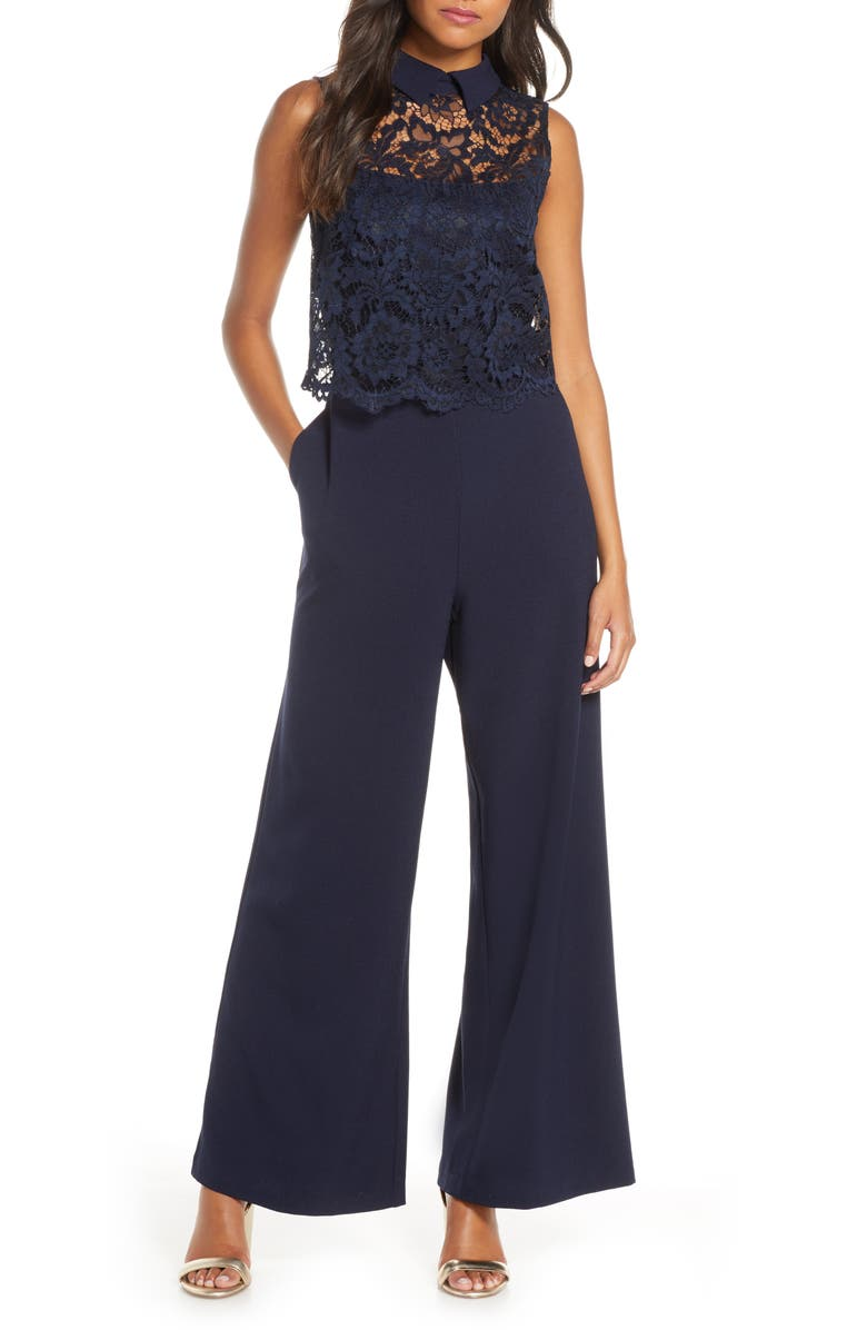 JULIA JORDAN Lace Popover Jumpsuit, Main, color, NAVY