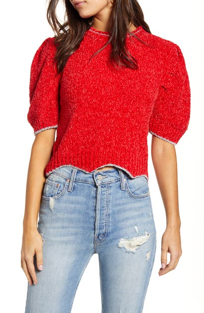 English Factory Metallic Chenille Crop Sweater In Red