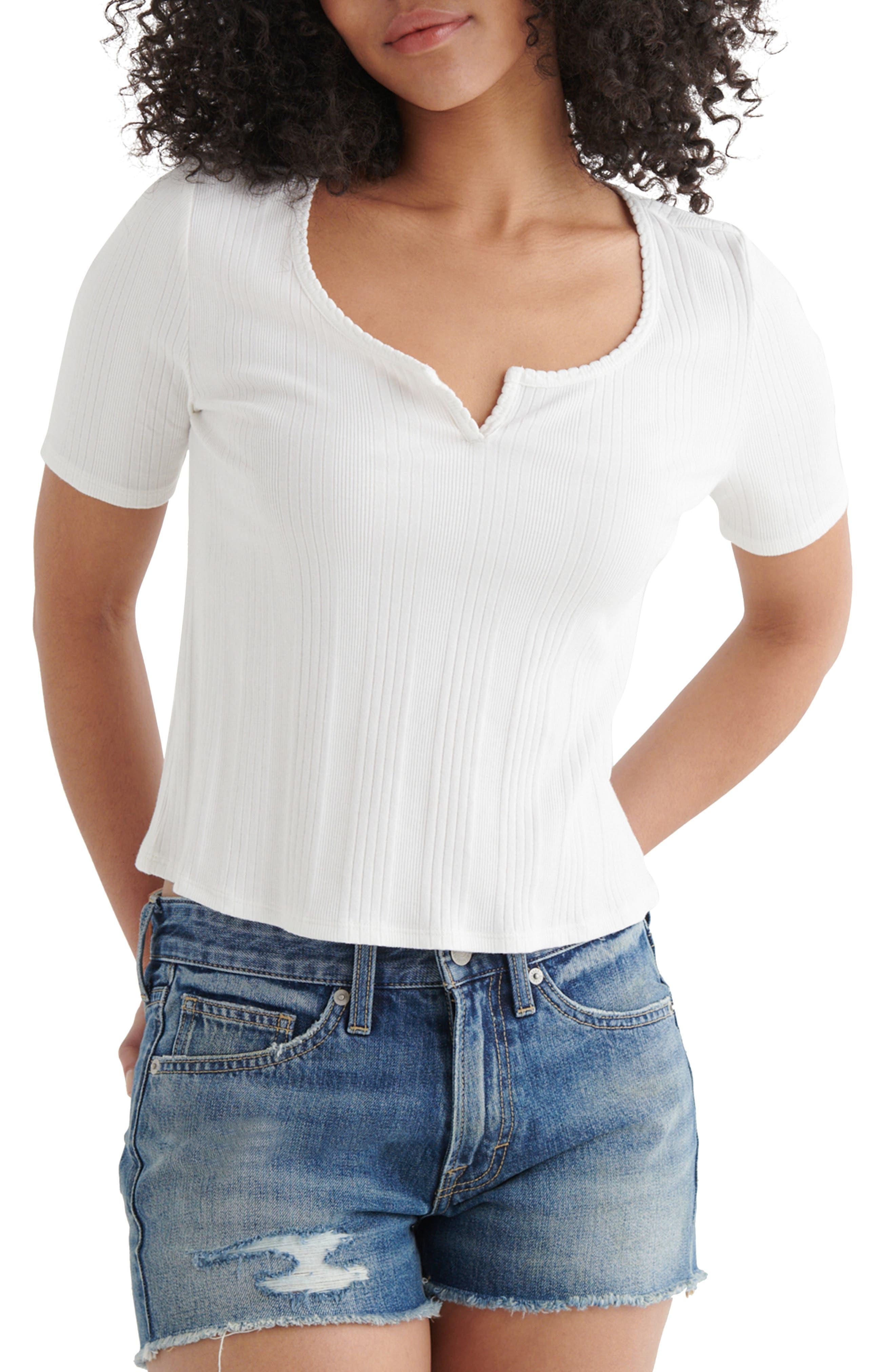 Slim Fit Notch Neck Ribbed Stretch Cotton Blend Top