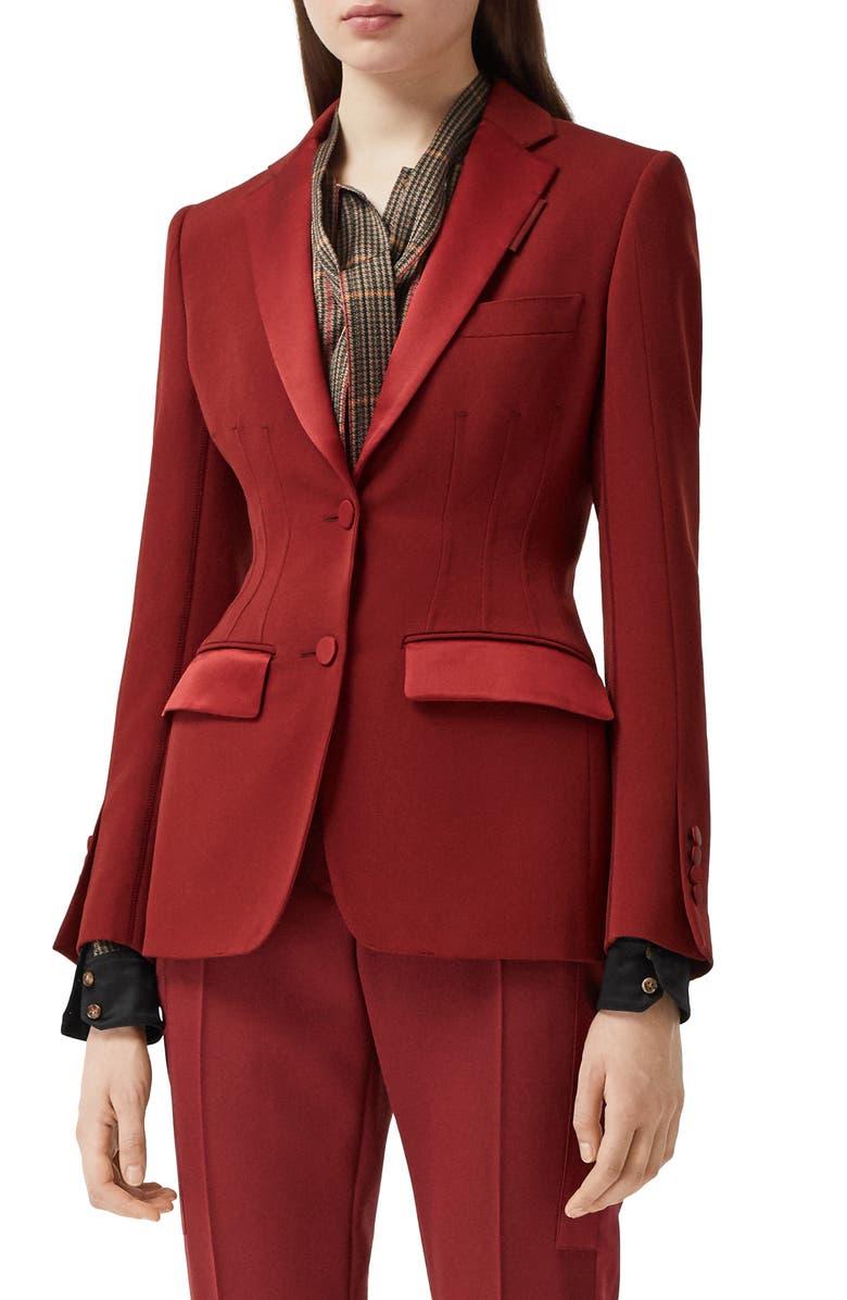 BURBERRY Otelia Satin Trim Wool Tuxedo Jacket, Main, color, DARK CARMINE