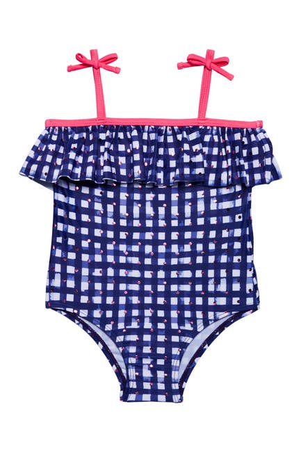 Image of Andy & Evan Foiled Dot Ruffle One-Piece Swimsuit
