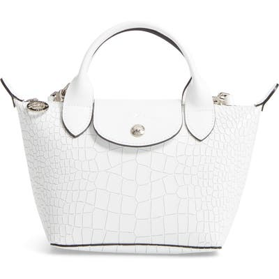 Longchamp Mini Le Pliage Cuir Croc Embossed Leather Top Handle Bag - White