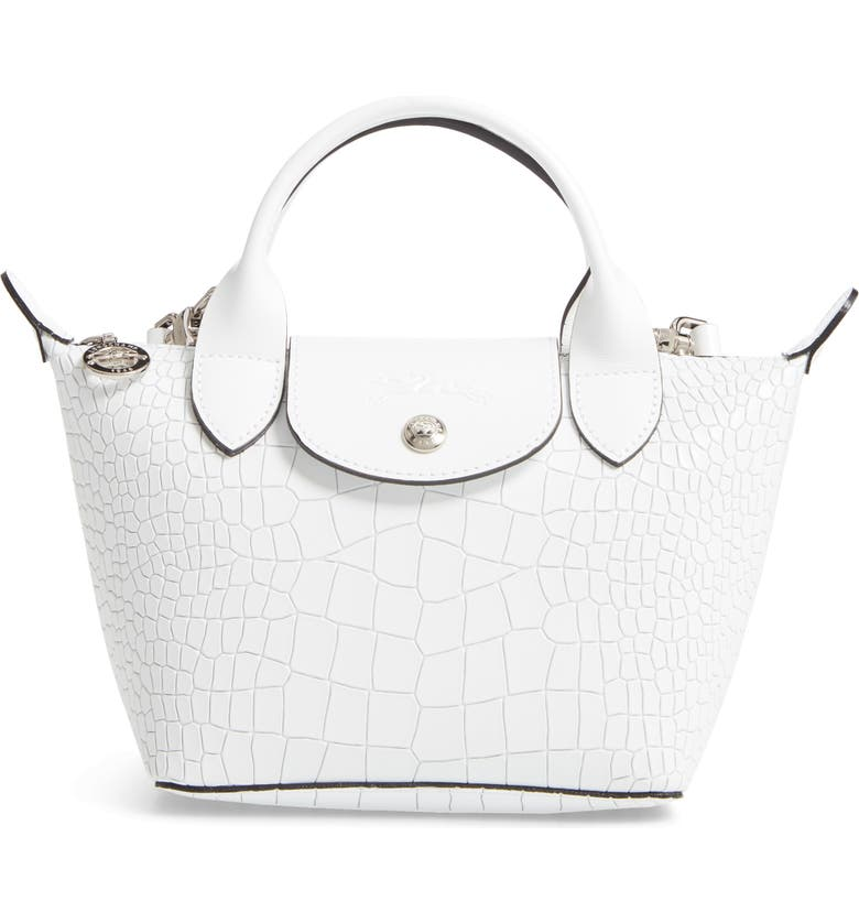 Longchamp Mini Le Pliage Cuir Croc Embossed Leather Top Handle Bag ...