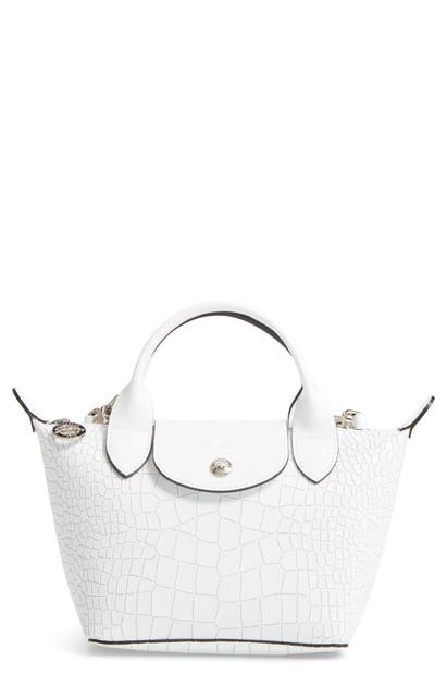 Mini Le Pliage Cuir Croc Embossed Leather Top Handle Bag In White
