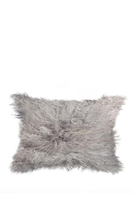 "Image of Kinetic Mongolian Genuine Sheepskin Pillow - 12""x20"" - Grey"