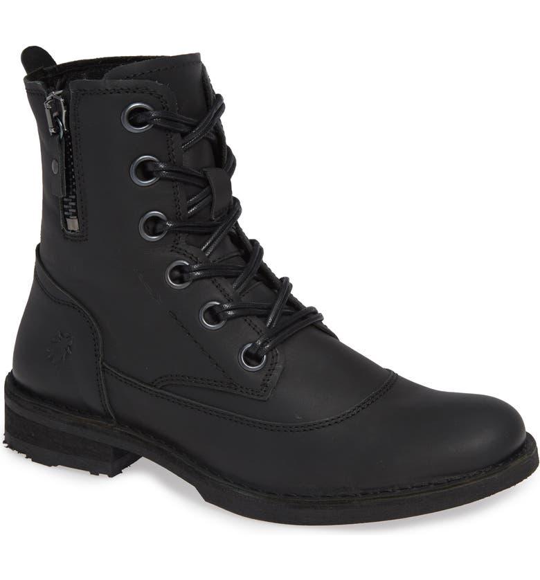 FLY LONDON Roda Zip Waterproof Boot, Main, color, BLACK HERITAGE