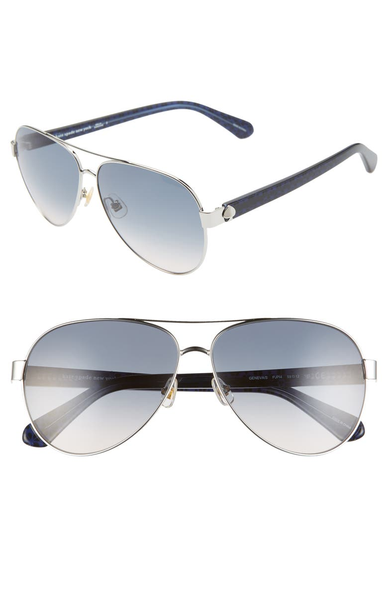 KATE SPADE NEW YORK genevas 59mm gradient aviator sunglasses, Main, color, SILVER BLUE/ BLUE GRAD