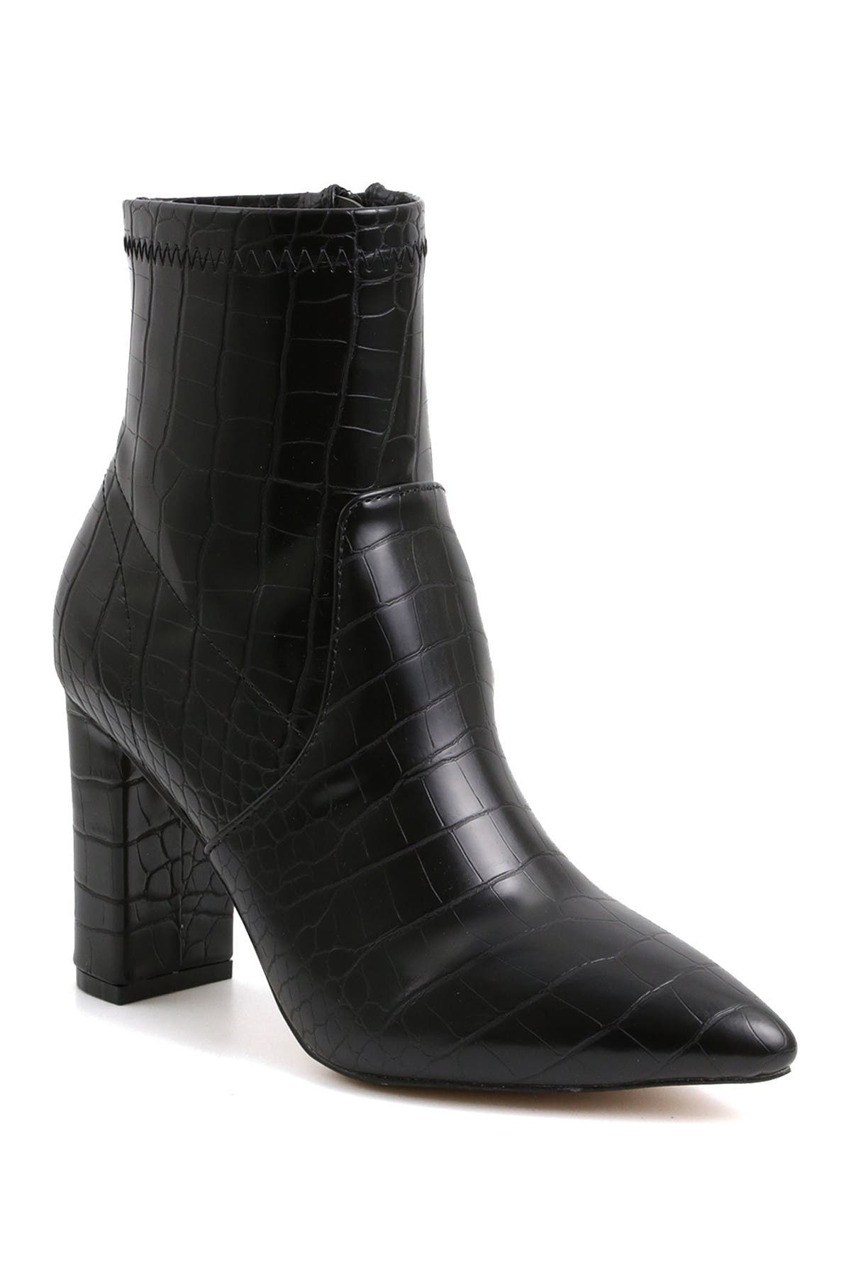 Image of Catherine Catherine Malandrino Bolonie Vegan Leather Pointed Toe Block Heel Bootie