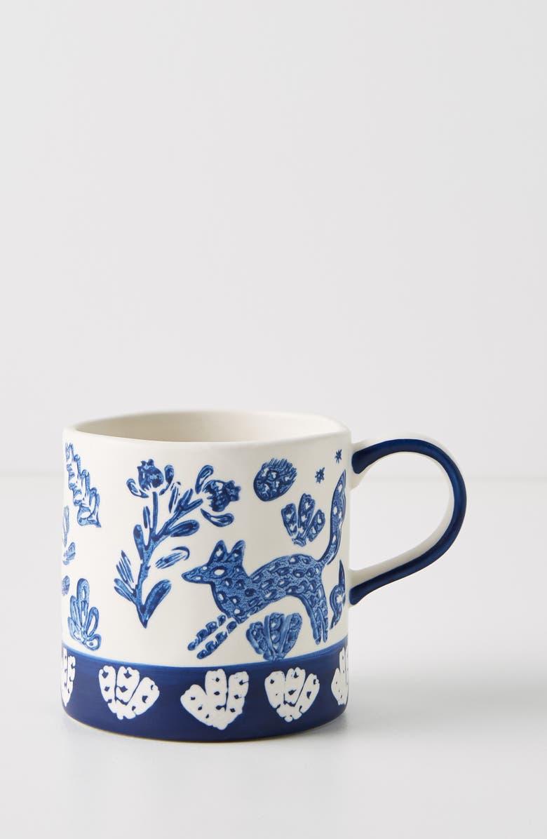 ANTHROPOLOGIE Pallu Set of 4 Mugs, Main, color, BLUE COMBO