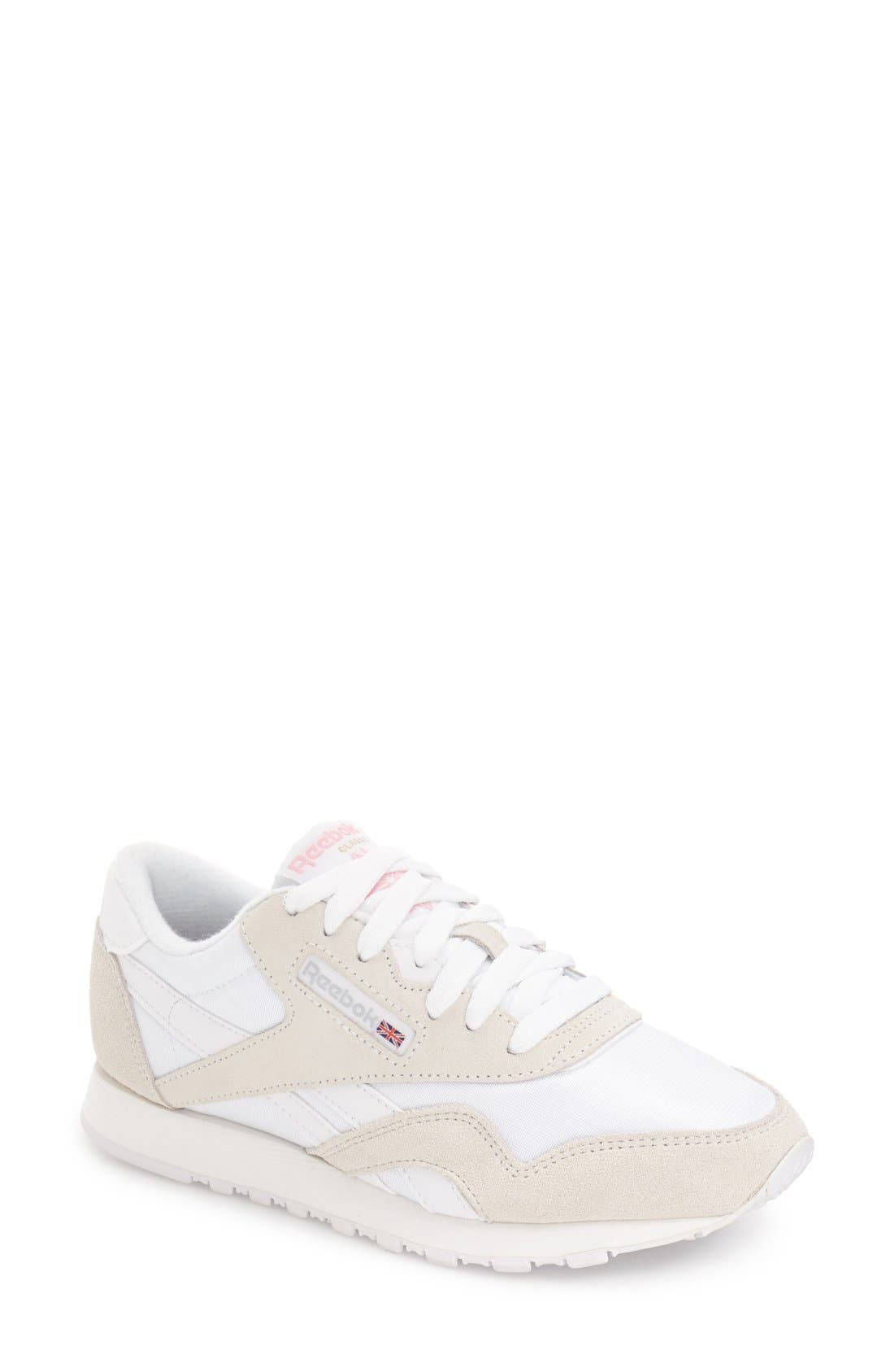 Reebok Women's Classic Nylon Casual Sneakers From Finish Line In White/light Grey
