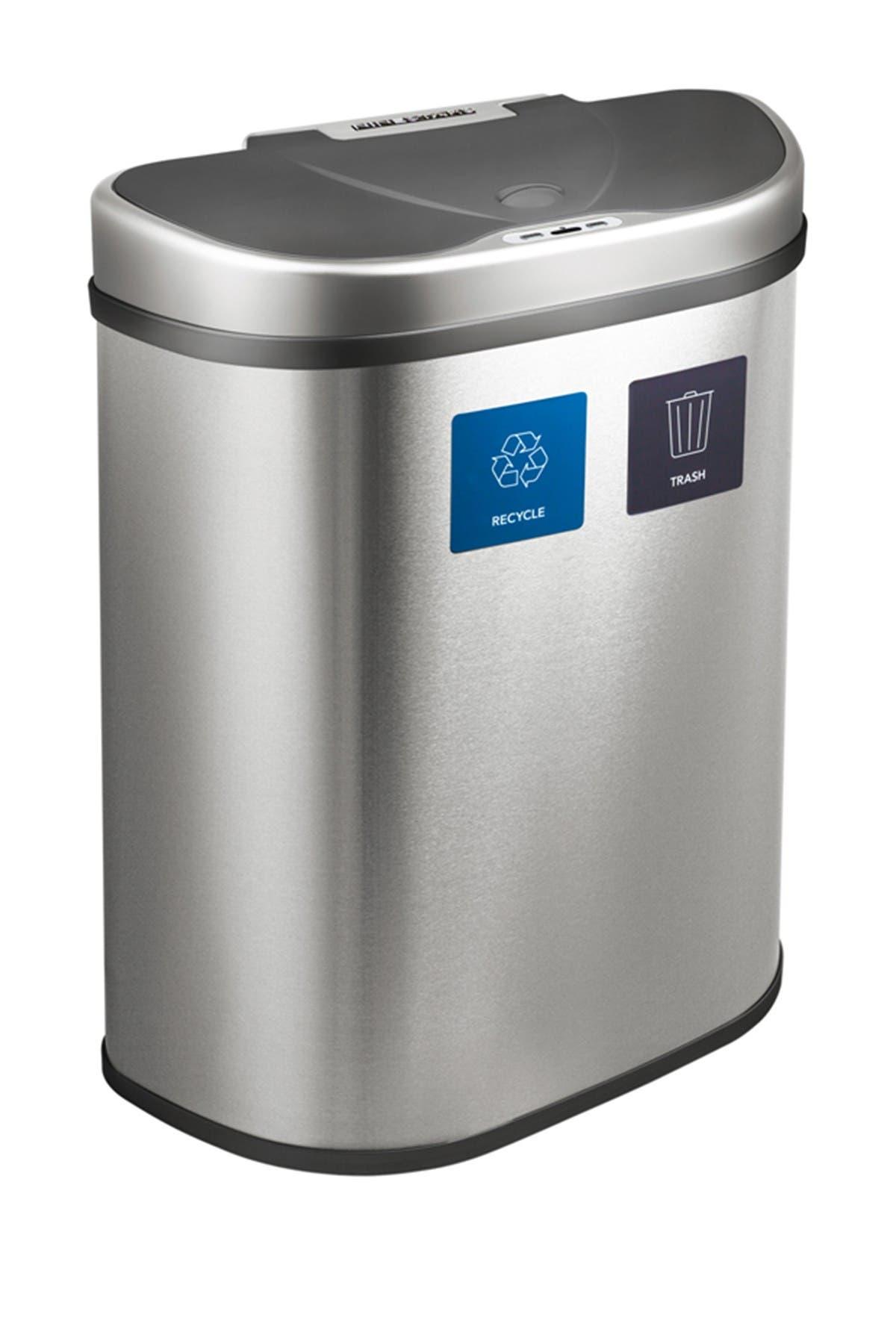 Image of NINESTARS Silver/Black Motion Sensor Trash Can - 18.5 Gallons