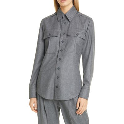 Stella Mccartney Wool Flannel Shirt, 8 IT - Grey