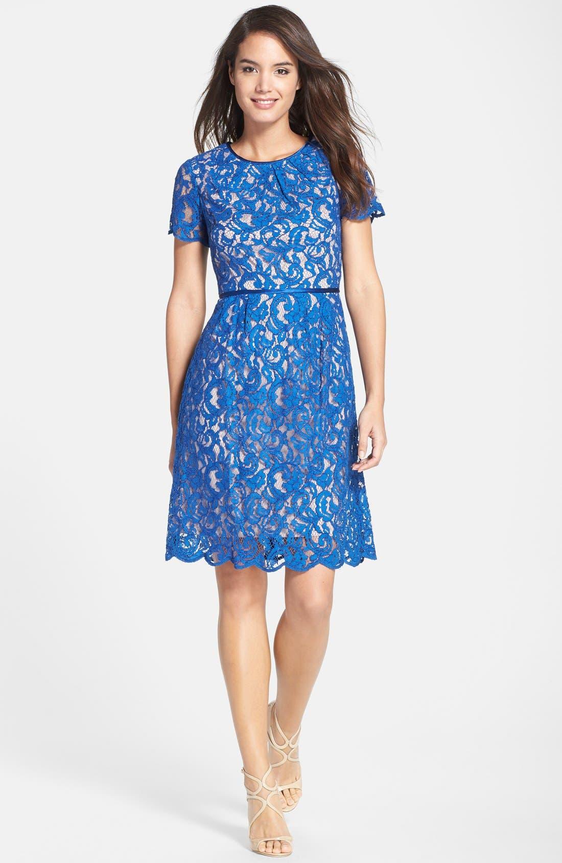 ,                             Scalloped Lace Dress,                             Alternate thumbnail 3, color,                             400