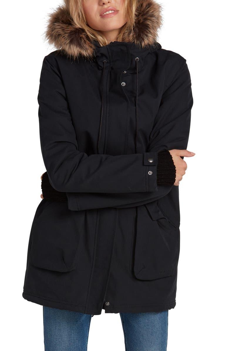 VOLCOM Less Is More 5K Faux Fur Trim Water Resistant Hooded Parka, Main, color, BLACK