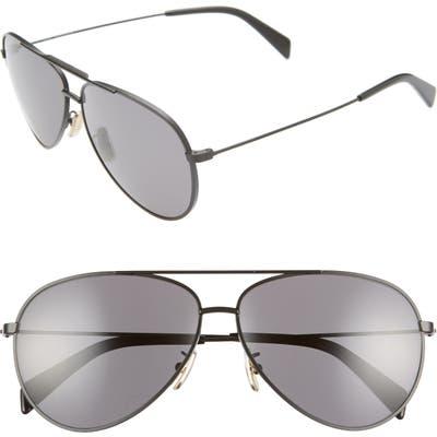Celine 61mm Polarized Aviator Sunglasses - Matte Black/ Smoke Polar