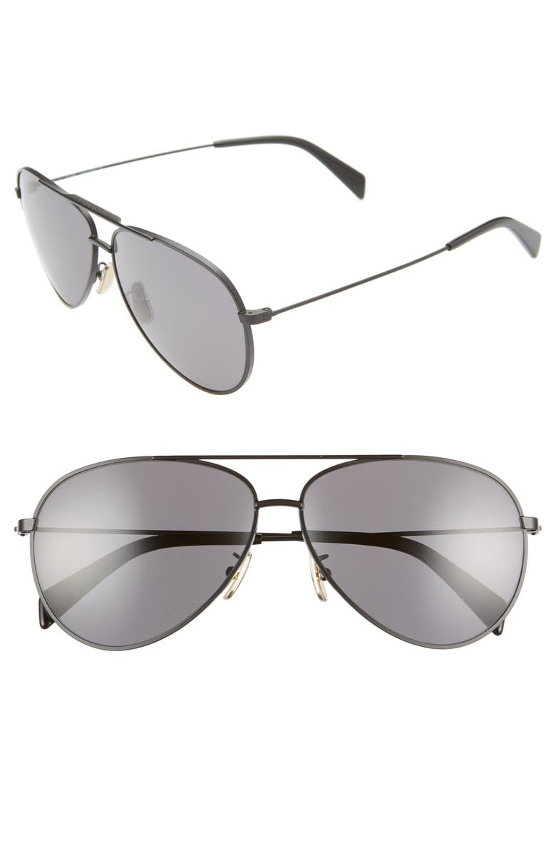 CELINE 61mm Aviator Sunglasses, Main, color, MATTE BLACK/ SMOKE POLAR