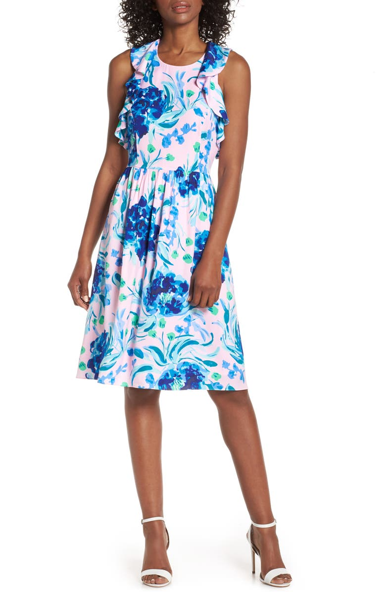 LILLY PULITZER<SUP>®</SUP> Rory Fit & Flare Dress, Main, color, PINK TROPICS TINT SWEET PEA
