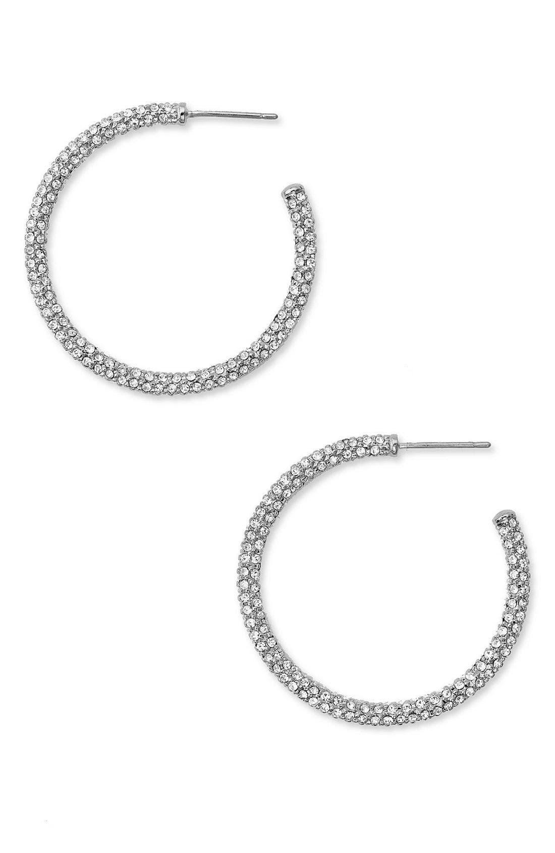 ,                             Medium Pavé Hoop Earrings,                             Main thumbnail 4, color,                             SIL