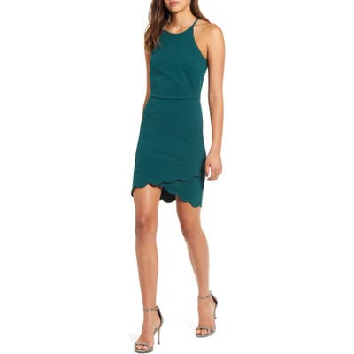 Love, Nickie Lew Scallop Hem Halter Dress, Green