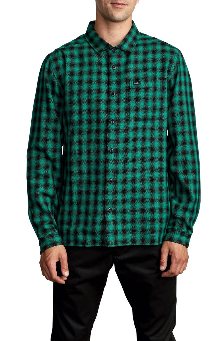 RVCA Telegraph Check Flannel Button-Up Shirt, Main, color, VINTAGE GREEN