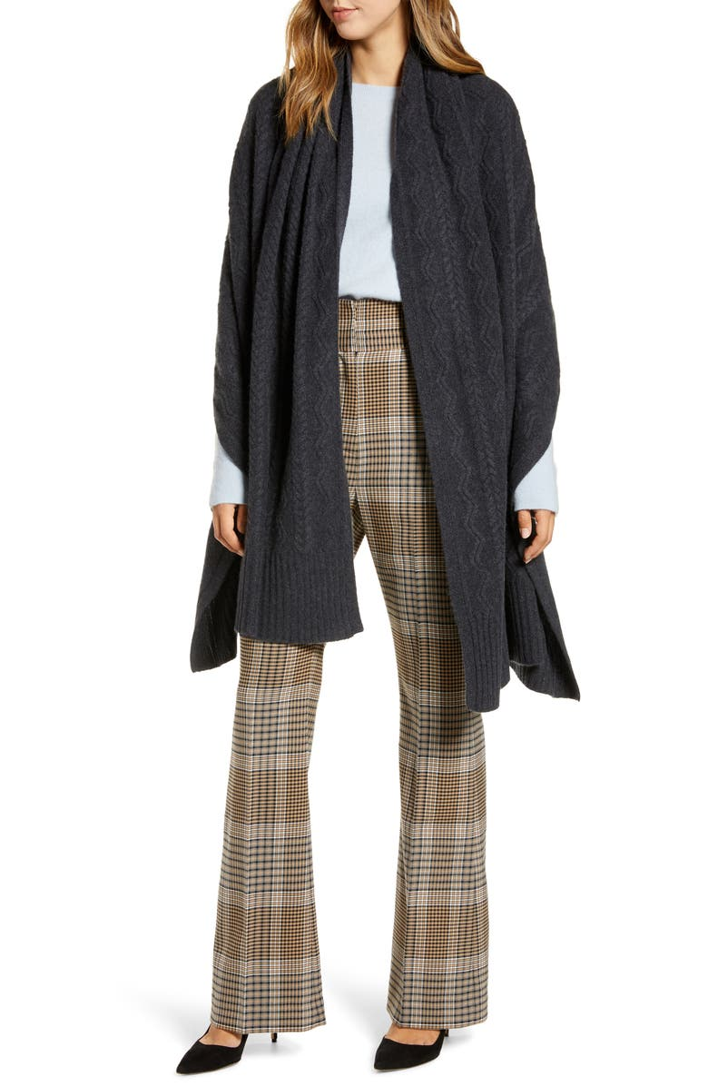 HALOGEN<SUP>®</SUP> Cashmere Wrap, Main, color, GREY CHARCOAL HEATHER