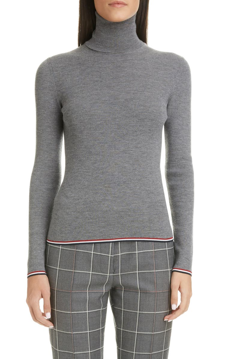 THOM BROWNE Rib Wool Sweater, Main, color, LIGHT GREY