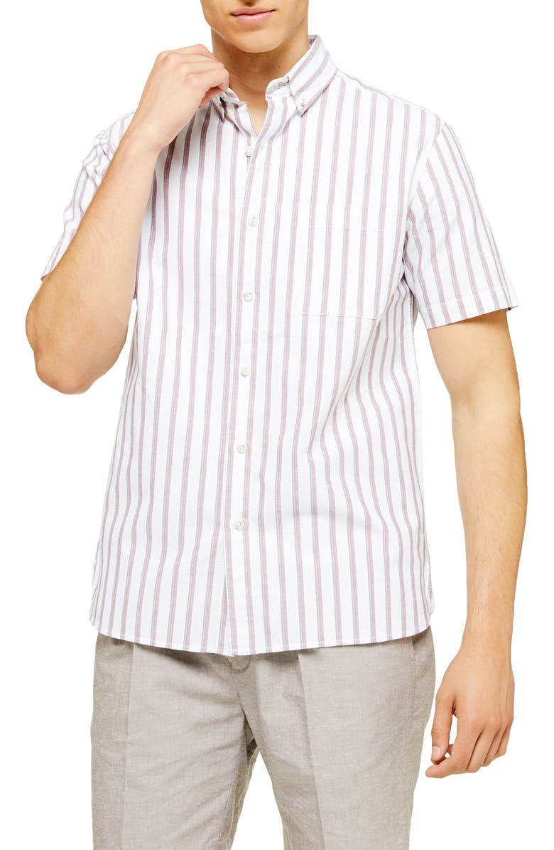 TOPMAN Classic Fit Oxford Stripe Short Sleeve Button-Down Shirt, Main, color, WHITE MULTI
