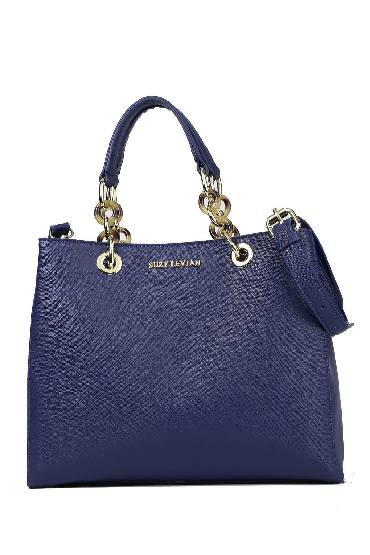 Image of Suzy Levian Saffiano Faux Leather Chain Strap Satchel