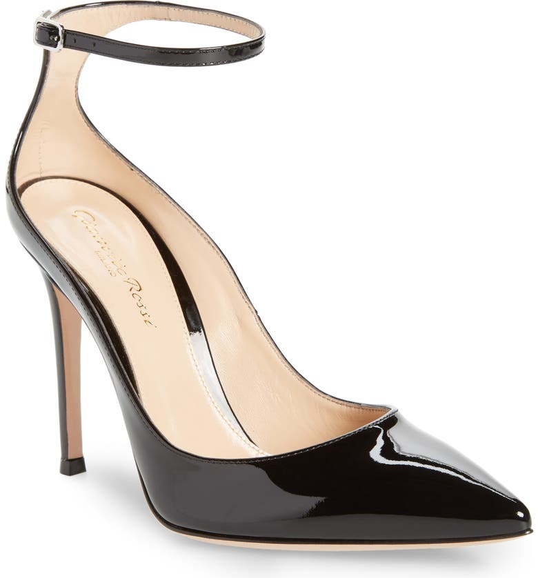 GIANVITO ROSSI Ankle Strap Pump, Main, color, BLACK PATENT