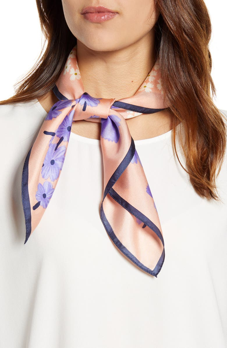 ECHO Tossed Floral Square Silk Scarf, Main, color, CAMBON CORAL