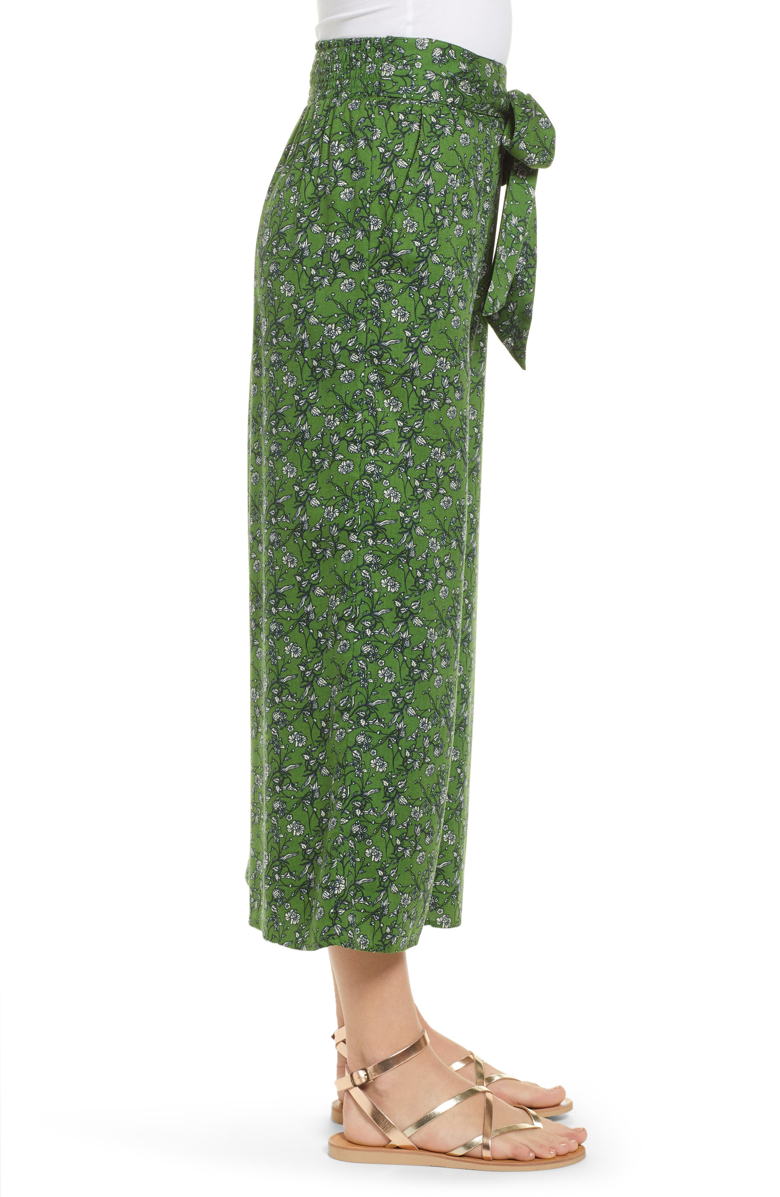 ,                             Print Wide Leg Crop Pants,                             Alternate thumbnail 4, color,                             GREEN CANOPY FLOWER BRANCHES