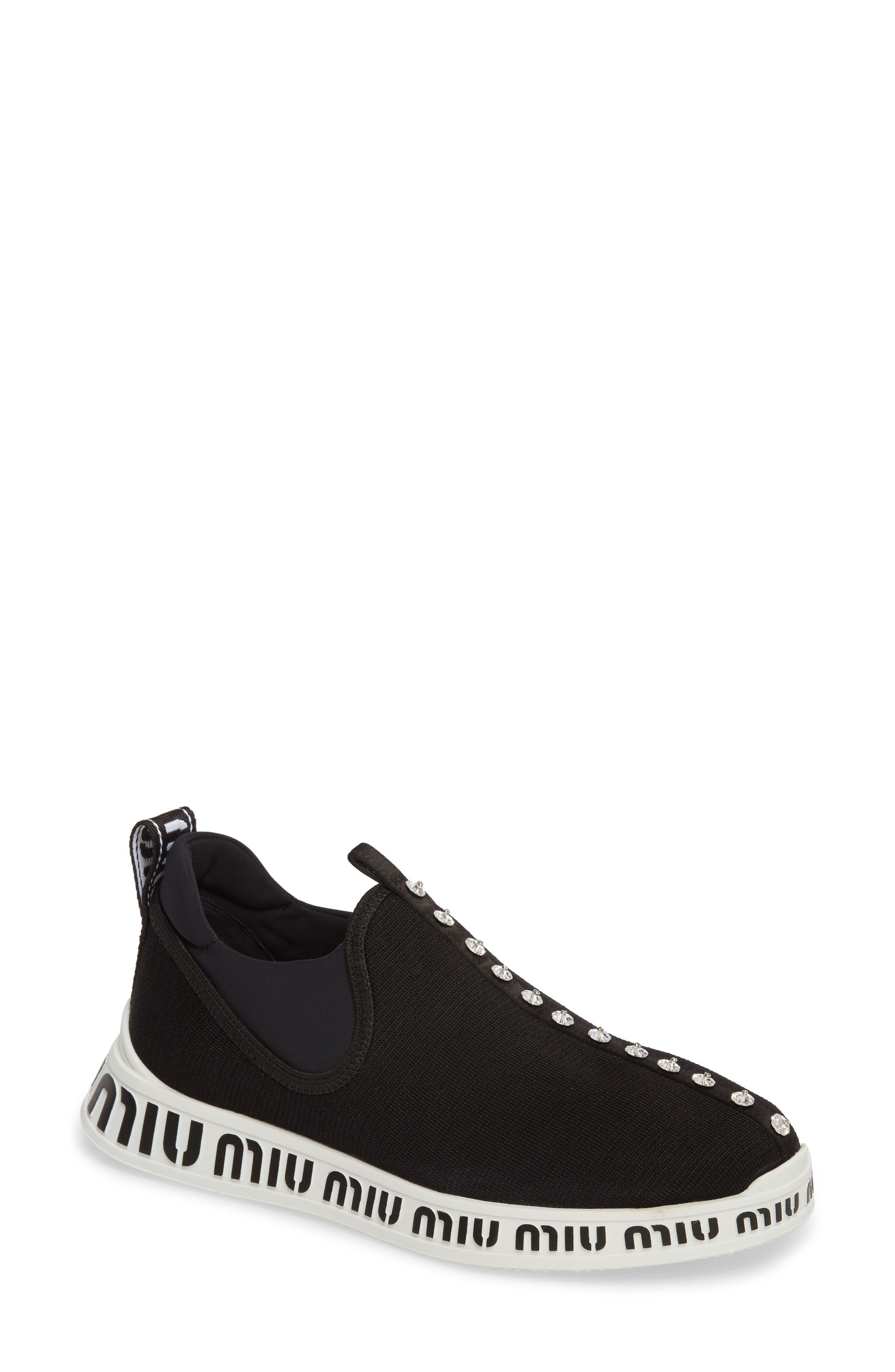 Miu Miu Logo Slip-On Sneaker - Black