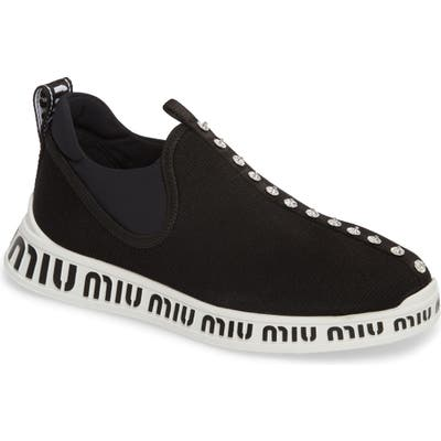 Miu Miu Logo Slip-On Sneaker - Black