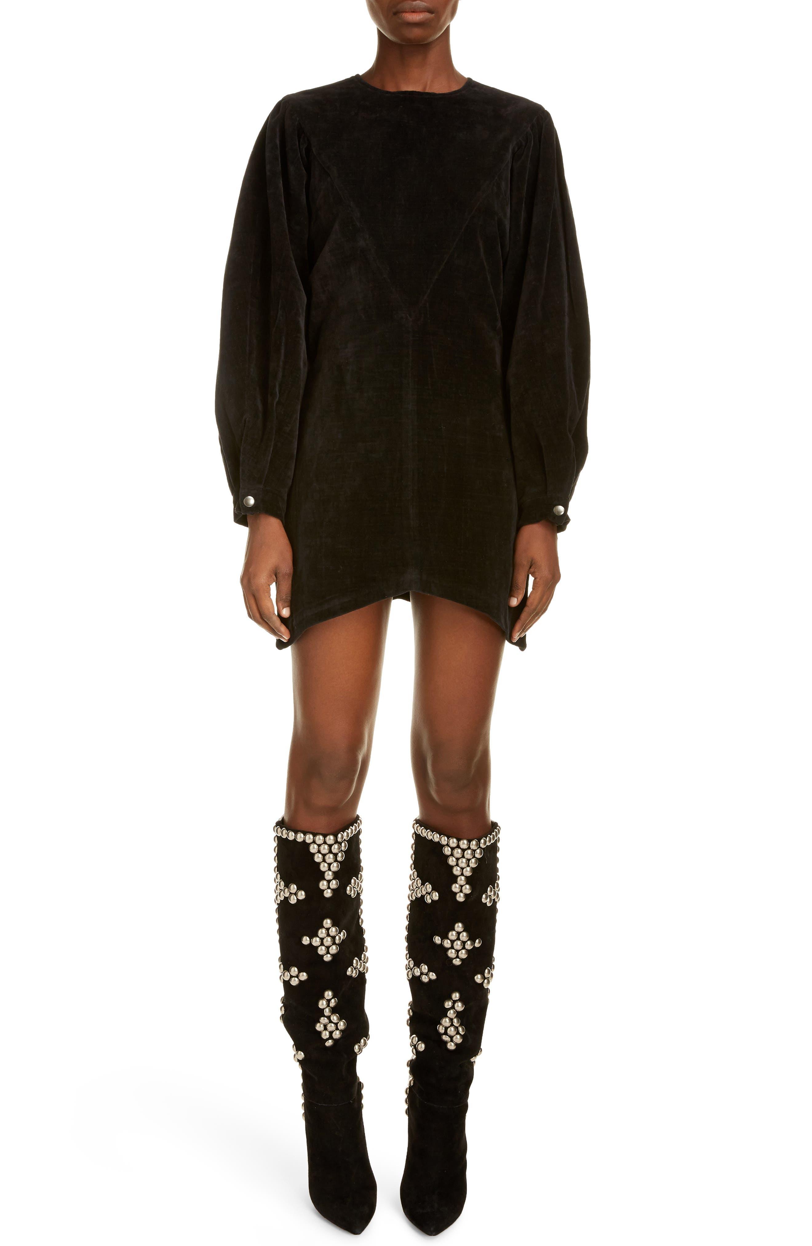 Image of ISABEL MARANT Long Sleeve Cotton Velvet Dress