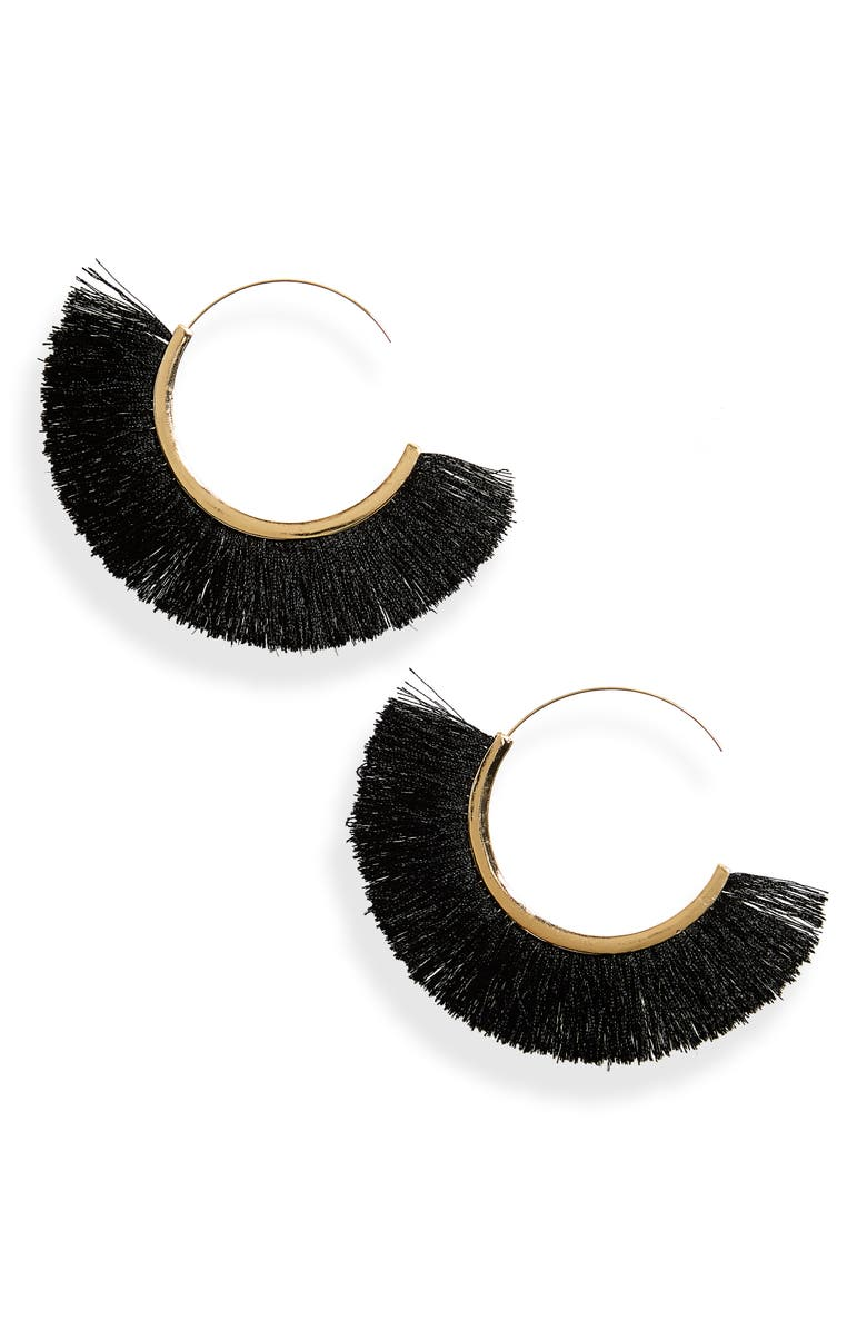 BP. Oversize Fringe Hoop Earrings, Main, color, 710