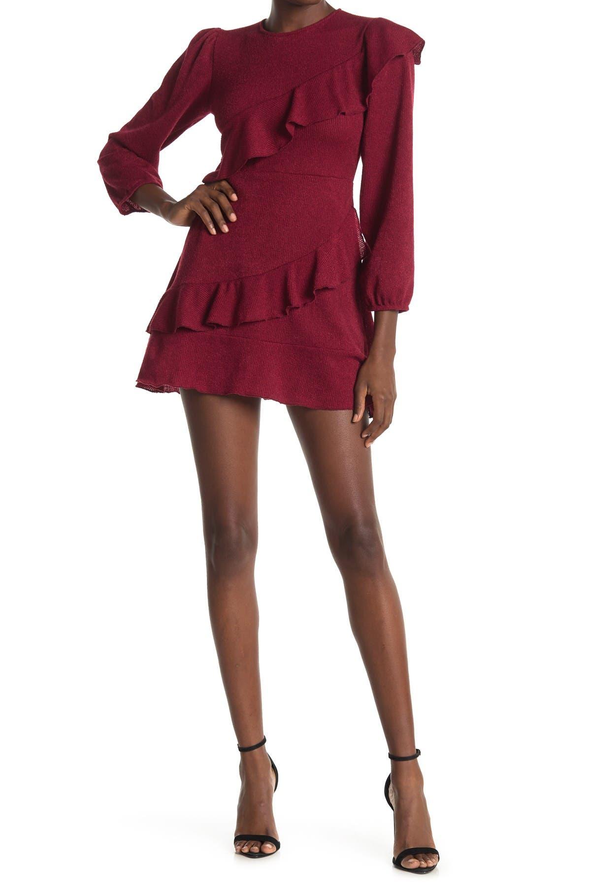 Image of Velvet Torch Cascading Ruffle Sweater Dress