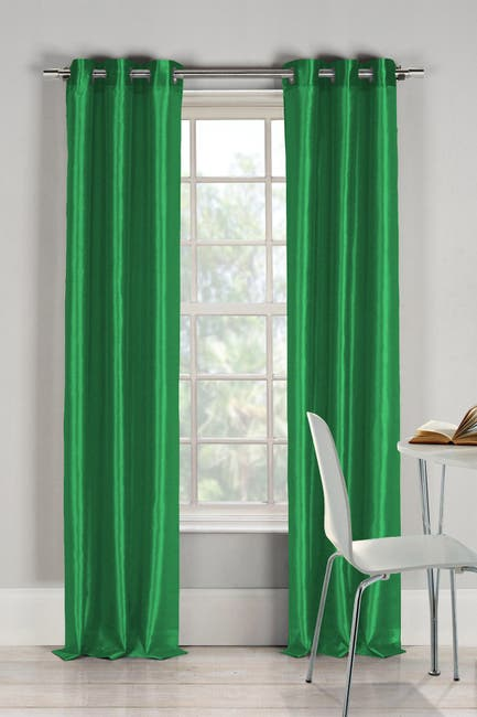 Image of Duck River Textile Bali Faux Silk Grommet Panel Curtains - Set of 2 - Emerald