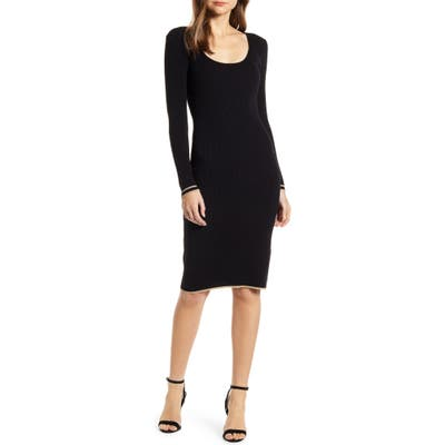 Cupcakes And Cashmere Claudia Long Sleeve Sweater Dress, Black