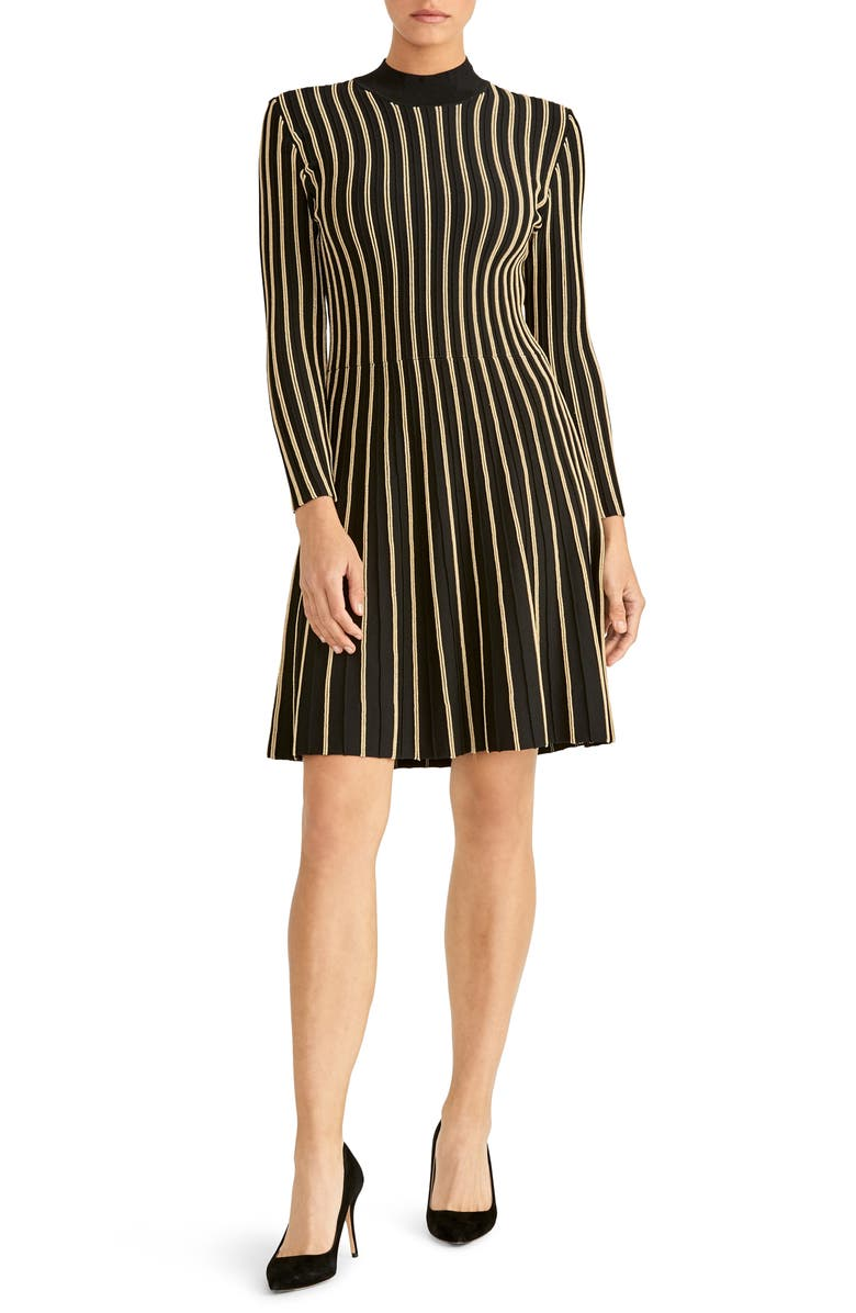 RACHEL ROY COLLECTION Vertical Stripe Long Sleeve Dress, Main, color, BLACK/ COMBO