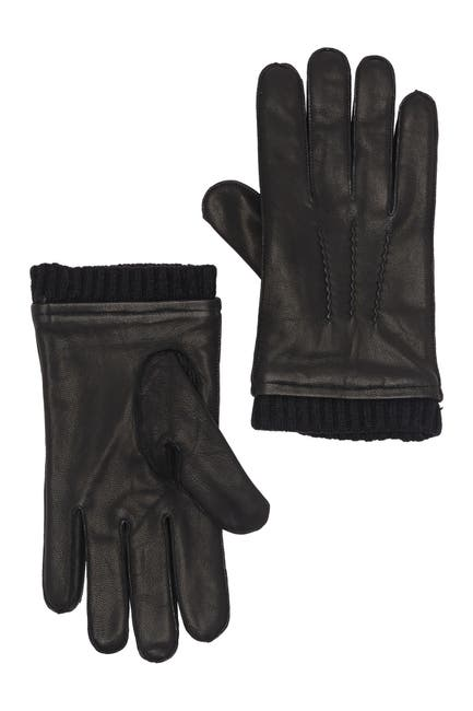 Image of Stewart of Scotland Knit Cuff Micro Fleece Leather Gloves