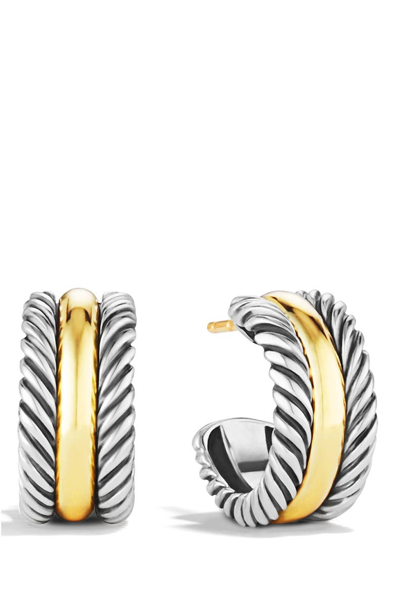 DAVID YURMAN 'Cable Classics' Hoop Earrings with Gold, Main, color, 040